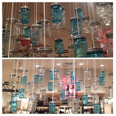 Decorate with Mason Jars. I saw this display at Williams Sonoma.