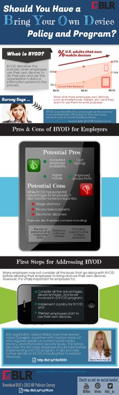 This is a graphic about BYOD presented by Business & Legal Resources.  It discusses the pros and cons of this trend through the eyes of an employer.  There are several legal risks and IT issues that could occur from implementation of a BYOD program.  The main key is to engage with a BYOD policy before allowing employees to use their devices while at work. (8156)