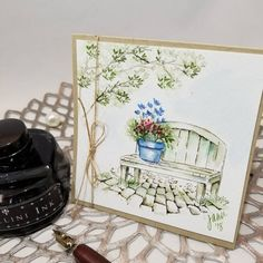 Art Impressions watercolor handmade card.  bench, flower pot, pavers