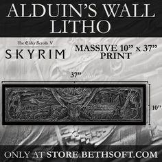 """Alduin's Wall Litho (from """"The Elder Scrolls V - Skyrim"""")"""