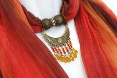 Scarves With Pendants Jewelry Scarves by RavensNestScarfJewel, $25.00