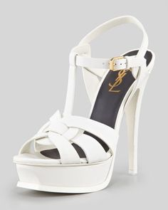 New Tribute Platform Sandal, White by Saint Laurent at Neiman Marcus.