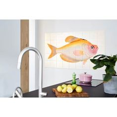 ixxi Natural History Museum Muurdecoratie Kunststof Yellow Fish - 100 x 60 cm - afbeelding 2 Yellow Fish, Golden Fish, Fish Wall Art, Tropical Party, Modern Wall Decor, Nature Prints, Contemporary Architecture, Wall Colors, The Help