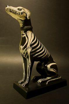 Ceramic dog skeleton - very Day of the Dead - skull item