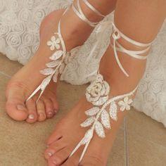 ivory gold frame Beach wedding barefoot sandals by BarefootShop