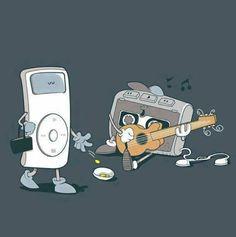 The old cassette walkman busker. LOL