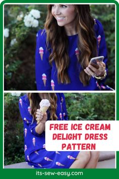 Ice cream lovers, here's a dress to help you confess your love when you're not eating ice cream. It's a great summer treat for you and something that you can easily wear to multiple functions. It's an easy and fun to make dress. For such a cool dress, it's surprising that you only need two materials to get the dress done. This free patterns contains all the information you need to complete the dress… Summer Dress Patterns, Eating Ice Cream, Nice Dresses, Summer Dresses, Stunning Summer, Summer Treats, Love Sewing, Warm Weather, Dress Making