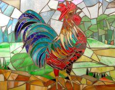 Crowing Cockerel Mosaic Card - Mosaic Art - Rooster Card