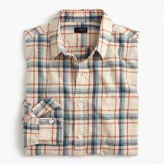 Slub cotton shirt in faded plaid