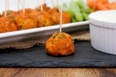 Buffalo chicken meatballs that are full of hot and spicy buffalo flavor! Using Franks hot sauce they disappear fast! Quick and easy appetizer for a crowd! Appetizers For A Crowd, Quick And Easy Appetizers, Best Appetizers, Appetizer Recipes, Beef Recipes, Chicken Recipes, Meatball Recipes, Yummy Recipes, Buffalo Chicken Meatballs