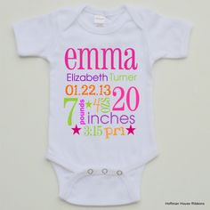 Birth Announcement Personalized Baby Girl Bodysuit