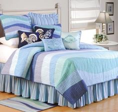 Ocean Wave Nautical Bedding - Best Sales and Prices Online! Home Decorating Company has Ocean Wave Nautical Bedding Ocean Bedding, Tropical Bedding, Beach Bedding, Coastal Bedding, Quilt Bedding, Twin Quilt, Tropical Quilts, Luxury Bedding, Nautical Bedding Sets