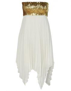 White Asymmetric Hem Chiffon Gold Sequined  Bandeau Dress  #ChiaraFashion