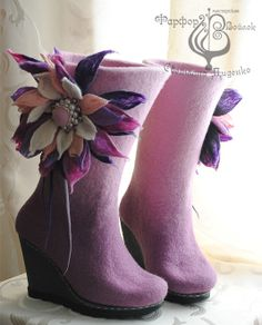 Shoes made ​​of felt. Handmade.