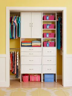 Plan a closet makeover by measuring your current closet to determine hanging requirements and storage needs. Next, you'll need to clear everything out of the closet so the new system can be installed. This is a good time to go through items you can no longer use and donate them to charity./