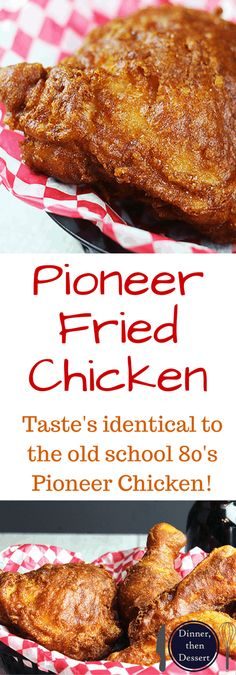 Shatteringly crisp, flavorful Pioneer Fried Chicken that tastes so nostalgic you will feel like you've gone back in time! Easy to make, only takes five minutes to make the wet batter and straight into (Fried Chicken) Fried Chicken Dinner, Fried Chicken Recipes, Baked Chicken, Chicken Gravy, Roasted Chicken, Kfc Chicken Recipe, Chicken Meals, Turkey Recipes, Meat Recipes