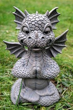 Süsser Gartendrache im Lotussitz Yoga Drache Figur Gartenfigur: Amazon.de: Garten