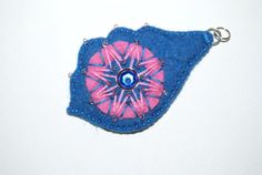 Blue and Pink  hand embroidered felt pendant by grabacoffee, $13.00
