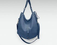 Leather bag blue Large Hobo Shoulder slouchy travel handbag everyday big  sling tote purse carry over 5fb2ab230f4f0