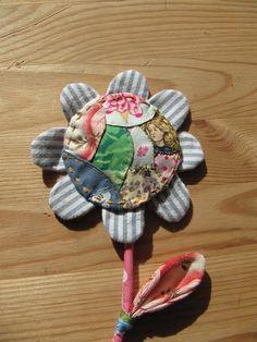 Crazy patchwork flower brooch, Julie Arkell workshop.