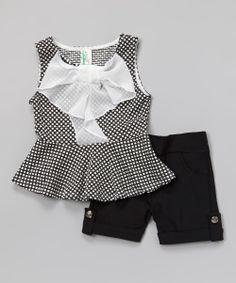 Black Polka Dot Bow Peplum Top & Shorts - Girls | Daily deals for moms, babies and kids