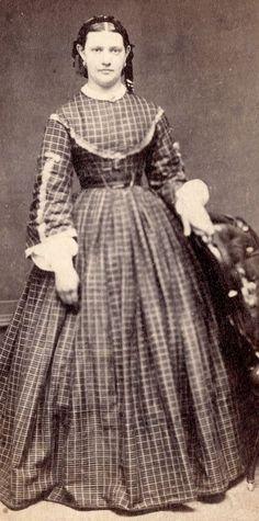 1860s Woman Standing Plaid Dress Fancy Sleeves by Owen Newton NJ  CDV
