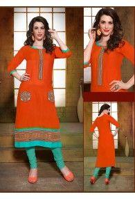 Orange Colour Cotton Designer Kurti by Saree Exotica