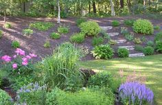 10 Stunning Landscape Ideas for a Sloped Yard Wonderful ideas to make your sloped backyard gorgeous! Sloped Backyard Landscaping, Terraced Landscaping, Landscaping On A Hill, Landscaping With Rocks, Landscaping Tips, Backyard Ideas, Backyard Patio, Landscaping Software, Inexpensive Landscaping