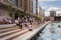 Sasaki and Ross Barney Architects complete Chicago Riverwalk #landscape #architecture #design #steps