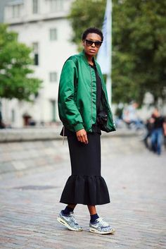 Donna Wallace, Accessories Editor Acne jacket, Monki top, Edit skirt, Nike x Liberty trainers, Chloe bag  What ELLE Wears, LFW SS 2016 Street Style.