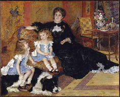 Renoir, 1878. Wearing an elegant Worth gown, Marguérite Charpentier sits beside her three-year-old son, Paul. Following the fashion of the time, his hair has not yet been cut and his clothes match those of his sister, Georgette, who perches on the family dog.