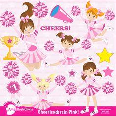 Pink Cheerleader Clipart