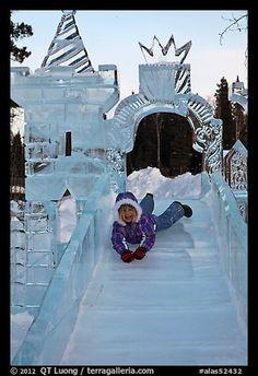 Girl on ice slide, Ice Alaska. Fairbanks, Alaska I was here March 2011 Fairbanks Alaska, Anchorage Alaska, Alaska Usa, Alaska Winter, Winter Fun, Winter Time, Snow Sculptures, Sculpture Art, Metal Sculptures