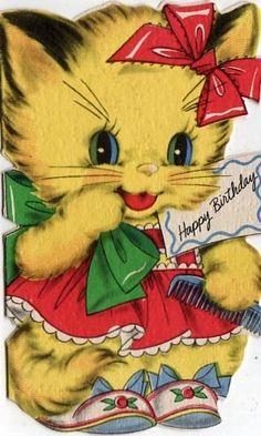 birthday kitten with green bow