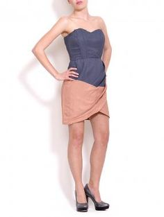 Lush  Woven Two-Tone Tube Dress