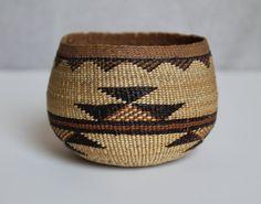 Hupa, Karuk or Yurok Northern California Polychrome Indian Hand Weaved Basket