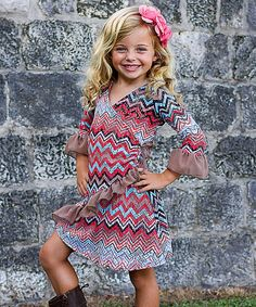 Blue & Coral Wrap Dress - Toddler & Girls