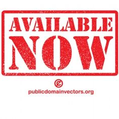 PublicDomainVectors.org-Red grunge vector label with Available now text inside a rectangle.