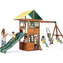 The Big Backyard Treasure Cove Wood Swing Set Features:<br><ul><li>Rock climbing wall</li><br><li>Side by side slides</li><br><li>Two swings</li><br><li>Acro bar</li></ul> Backyard Play Spaces, Backyard Swing Sets, Backyard Toys, Big Backyard, Play Swing Set, Wood Swing Sets, Outdoor Toys, Outdoor Fun, Outdoor Ideas
