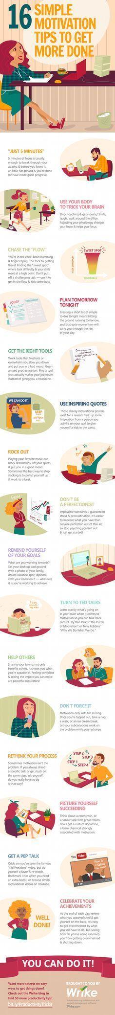 16 sencillos consejos de motivación para hacer más cosas. #infografía