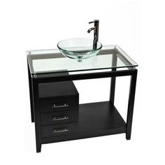 Bionic Cappuccino Clear Glass Bathroom Vanity, Wood, metal and glass construction Glass Bathroom, Downstairs Bathroom, Bathroom Sinks, Bathroom Ideas, Powder Room Design, Contemporary Vanity, Complete Bathrooms, Beach Bathrooms, Vanity Set