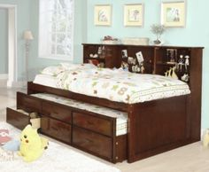 Nica en su estilo y muy funcional es la cama de dia for Cama individual con cajones