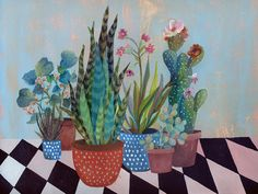 Glicee print cactus and plants illustration by artandpeople