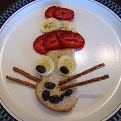 We're gearing up to celebrate Dr. Seuss's birthday with this healthy Cat in the Hat snack! Pin It Ingredients: Raisins Pretzel sticks Banana Strawberries Wheat Bread Directions: 1. Cut a slice of wheat bread in half. 2. Slice a banana into coins. Place two coins as eyes. 3. Use raisins to...