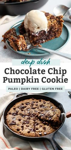 A Paleo Deep Dish Chocolate Chip Pumpkin Cookie Skillet. Perfect for a crowd. Made with grain-free flour, cashew butter and real pumpkin. This dessert is going to blow you away! Dairy-free, gluten-free, paleo. | fitmittenkitchen.com | #chocolatechipcookie #cookieskillet #giantcookie #skilletcookie #chocolatechip #pumpkincookie #dairyfree #glutenfree #glutenfreecookie