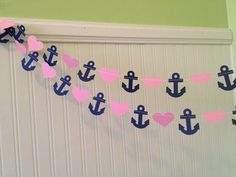 Navy blue and Pink  Anchors and Hearts Paper Garland -Wedding Garland  Decoration -  Bridal Shower Decor - Nautical Decor - Custom Color 8ft on Etsy, $8.00