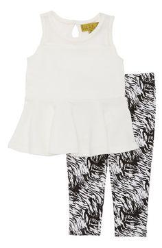 Nicole Miller Sleeveless Peplum Tunic & Print Leggings (Baby Girls)