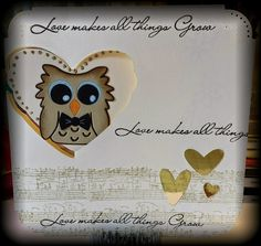 Caz Counsell using the Pop it Ups Heart Pivot Card, Poppy the Owl and Props 1 dies by Karen Burniston for Elizabeth Craft Designs. - A STAMPING & CHIRPING Corner: Congratulations Katie & Joe