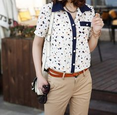Vintage Polo Collar Heart Shape Print Color Block Women's Shirt (BEIGE,XL) | Vintage Blouses
