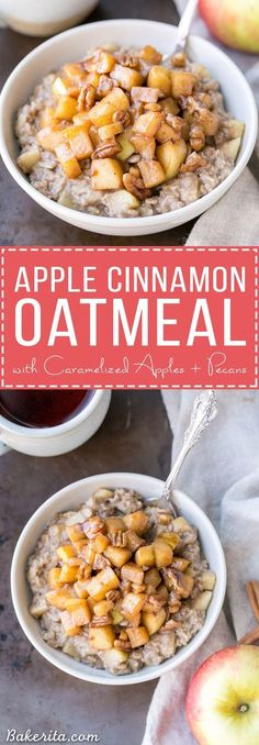 This Apple Cinnamon Oatmeal is topped with caramelized apples and crunchy pecans for an irresistible breakfast that's much more decadent than it looks. This breakfast treat is gluten-free, refined sugar free + vegan!
